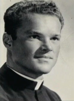 Michael Clegg as a young priest