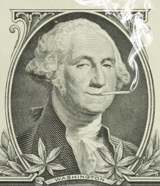 George washington on dollar bill smoking a joint